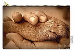 Man And Dog Carry-all Pouch