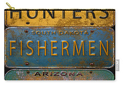 Man Cave-license Plate Art Carry-all Pouch by Jean Plout