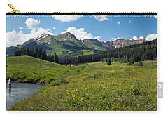 Man Fly-fishing In Slate River, Crested Carry-all Pouch