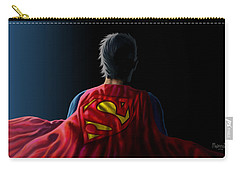 Carry-all Pouch featuring the digital art Man Of Steel - Superman by Anthony Mwangi