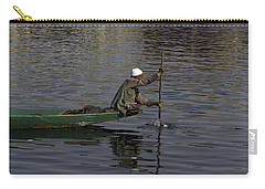 Man Plying A Wooden Boat On The Dal Lake Carry-all Pouch