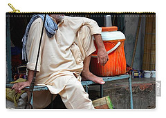 Man Sits And Relaxes In Lahore Walled City Pakistan Carry-all Pouch