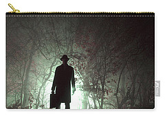Carry-all Pouch featuring the photograph Man Waiting In Fog With Case by Lee Avison