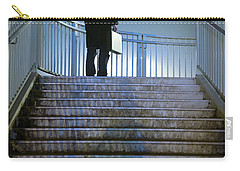 Carry-all Pouch featuring the photograph Man With Case At Night On Stairs by Lee Avison