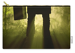 Carry-all Pouch featuring the photograph Man With Case In Fog by Lee Avison