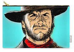 Carry-all Pouch featuring the mixed media Clint Eastwood by Salman Ravish