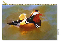 Mandarin Duck Flapping In The Water Carry-all Pouch