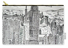 Carry-all Pouch featuring the drawing Manhattan by Janice Rae Pariza