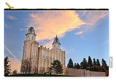 Manti Temple Morning Carry-all Pouch by David Andersen