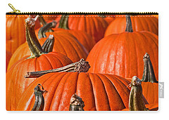 Carry-all Pouch featuring the photograph Many Pumpkins In A Row Art Prints by Valerie Garner