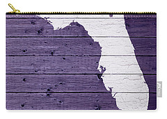 Map Of Florida State Outline White Distressed Paint On Reclaimed Wood Planks Carry-all Pouch