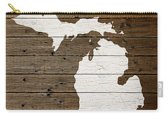 Map Of Michigan State Outline White Distressed Paint On Reclaimed Wood Planks Carry-all Pouch