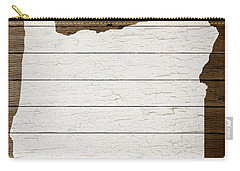 Map Of Oregon State Outline White Distressed Paint On Reclaimed Wood Planks Carry-all Pouch by Design Turnpike