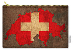 Map Of Switzerland With Flag Art On Distressed Worn Canvas Carry-all Pouch