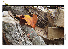 Maple Leaf In Wood Pile Carry-all Pouch