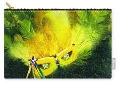 Carry-all Pouch featuring the painting Mardi Gras On Green by Alys Caviness-Gober