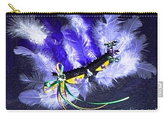 Carry-all Pouch featuring the painting Mardi Gras On Purple by Alys Caviness-Gober