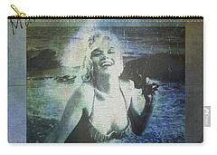 Carry-all Pouch featuring the digital art Marilyn Monroe At The Beach by Absinthe Art By Michelle LeAnn Scott