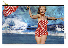 Marilyn Monroe - On The Beach Carry-all Pouch by EricaMaxine  Price