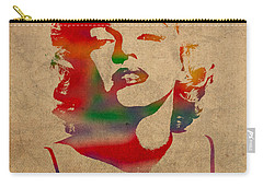 Marilyn Monroe Watercolor Portrait On Worn Distressed Canvas Carry-all Pouch by Design Turnpike