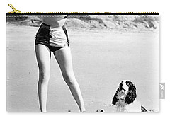 Marilyn Playing Baseball At The Beach Carry-all Pouch by R Muirhead Art