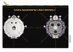 Mars Spaceship Hermes1 Front And Rear Carry-all Pouch