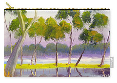 Carry-all Pouch featuring the painting Marshlands Murray River Red River Gums by Pamela  Meredith