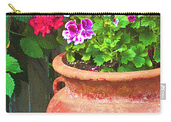 Carry-all Pouch featuring the photograph Martha Washington Geraniums In Textured Clay Pot by Sandra Foster