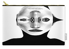 Carry-all Pouch featuring the painting Mask Black And White by Rafael Salazar