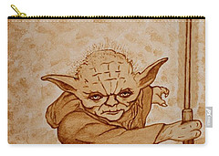 Carry-all Pouch featuring the painting Master Yoda Jedi Fight Beer Painting by Georgeta  Blanaru
