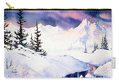 Carry-all Pouch featuring the painting Matanuska Sunset Impression by Teresa Ascone