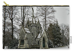 Carry-all Pouch featuring the photograph Mausoleum In Winter by Kathy Barney