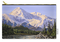 Majestic Denali Mountain Landscape - Alaska Painting - Mountains And River - Wilderness Decor Carry-all Pouch