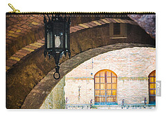 Carry-all Pouch featuring the photograph Medieval Arches With Lamp by Silvia Ganora