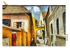 Medieval Street In Sighisoara Transylvania Romania - Painting Carry-all Pouch