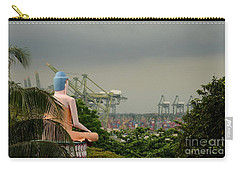 Carry-all Pouch featuring the photograph Meditating Buddha Views Container Seaport Singapore by Imran Ahmed