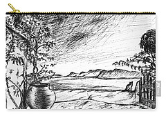 Carry-all Pouch featuring the drawing Mediterranean Cat by Teresa White