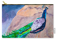 Carry-all Pouch featuring the painting Mellow Peacock by Beverley Harper Tinsley
