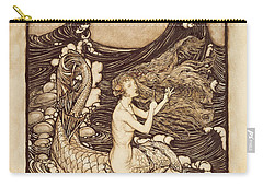 Mermaid And Dolphin From A Midsummer Nights Dream Carry-all Pouch by Arthur Rackham