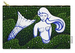 Mermaid At The Garden Carry-all Pouch by Donna Huntriss