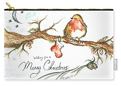 Merry Christmas Robin Carry-all Pouch by Teresa White