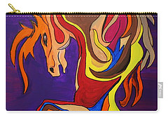 Carry-all Pouch featuring the painting Merry Go Round Carousel Horse by Janice Rae Pariza
