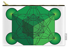 Metatron's Cube In Green Carry-all Pouch