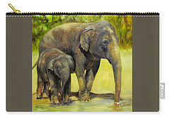Thirsty, Methai And Baylor, Elephants  Carry-all Pouch