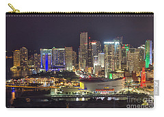 Miami Downtown Skyline American Airlines Arena Carry-all Pouch by Rene Triay Photography