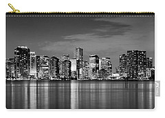Miami Skyline At Dusk Black And White Bw Panorama Carry-all Pouch