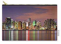 Miami Skyline At Dusk Sunset Panorama Carry-all Pouch