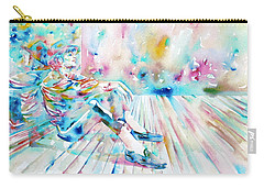 Michael Jackson - Watercolor Portrait.8 Carry-all Pouch by Fabrizio Cassetta