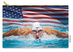 Michael Phelps Artwork Carry-all Pouch by Sheraz A