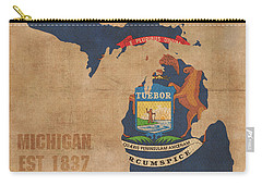 Michigan State Flag Map Outline With Founding Date On Worn Parchment Background Carry-all Pouch by Design Turnpike